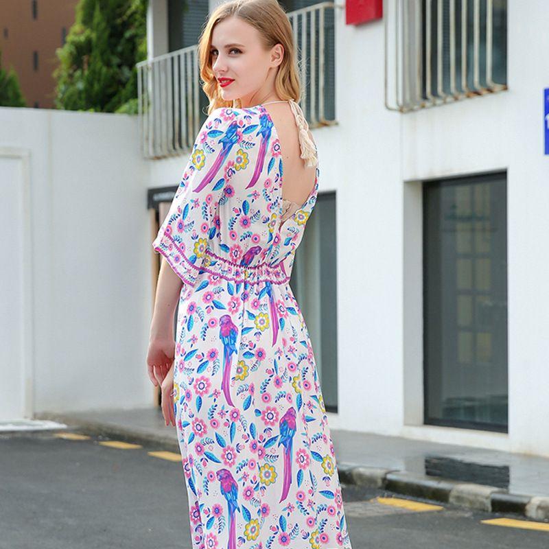 2020 nuevas mujeres visten Europa y América del cuello de pico de atrás abierta manga del palo de la falda larga vestido de algodón estampado de cintura alta