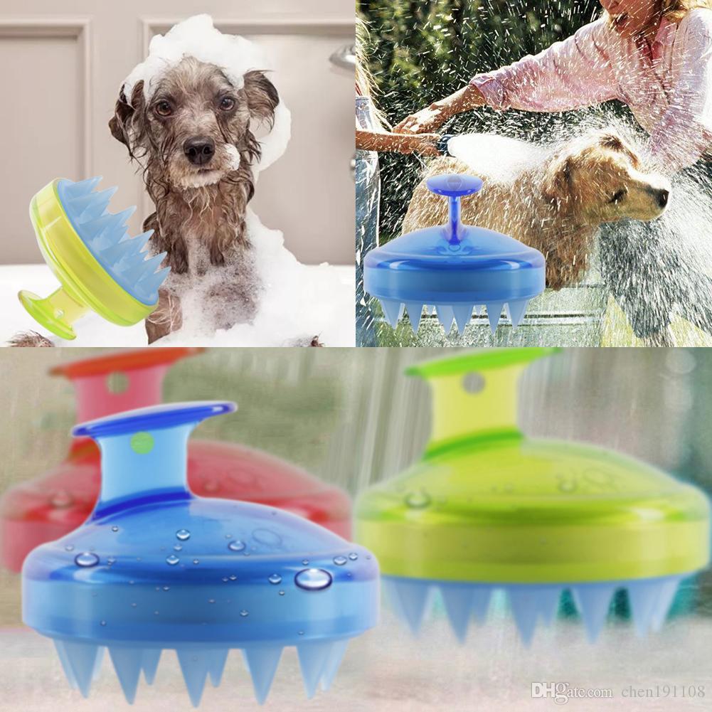 Animali da bagno in silicone massaggio spazzola lavaggio capelli pettine shampoo doccia bagno pulizia 4 colori