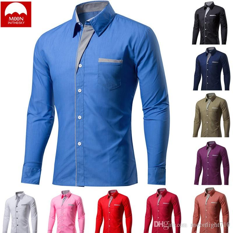 MOON 4XL New Fashion Men Camisa Masculina Long Sleeve Shirt Men Korean Slim Design Formal Casual Male Dress Shirt CS-024