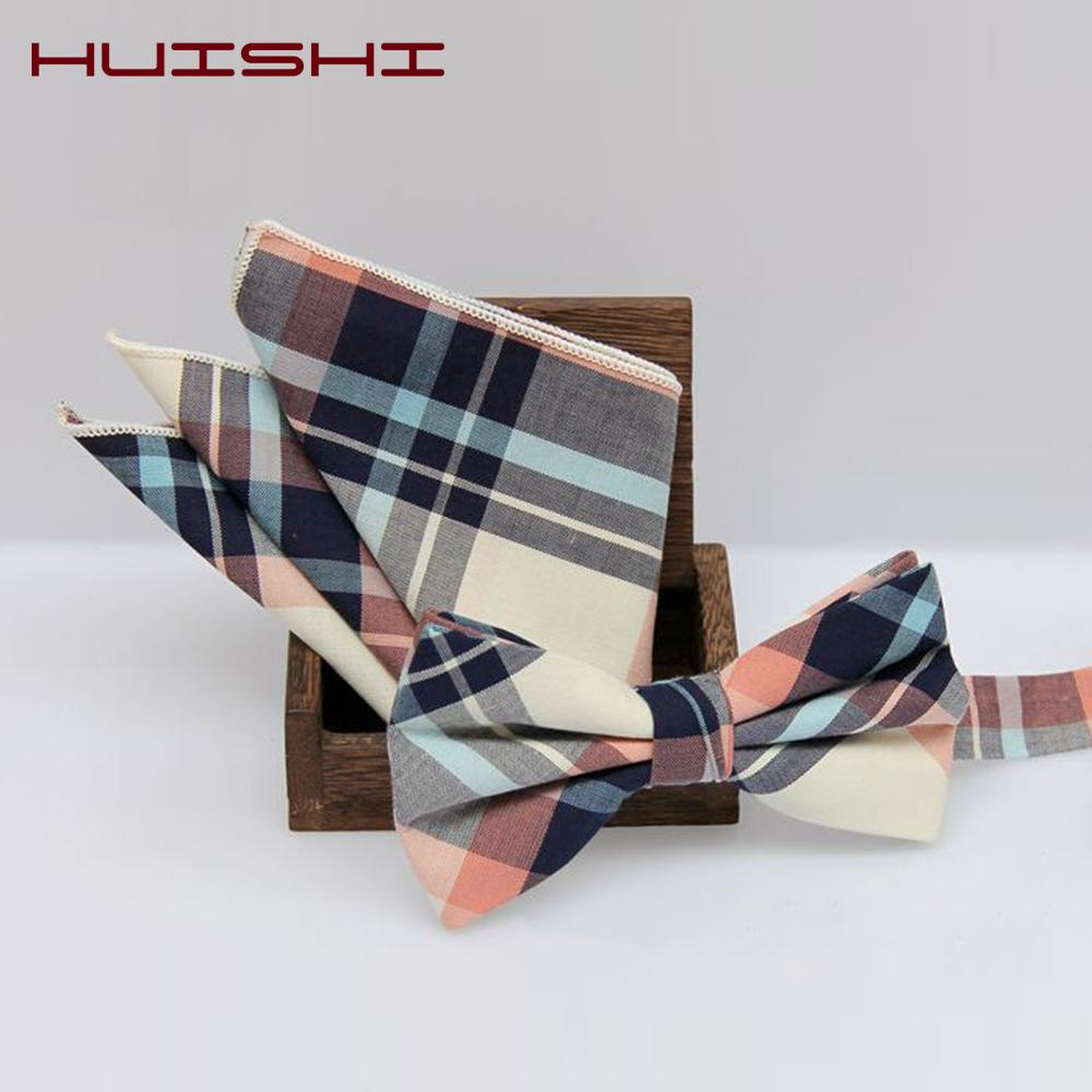 New 10 Color Men/'s Polyester Checks Handkerchief Plaid Bow Ties Tuxedo Sets