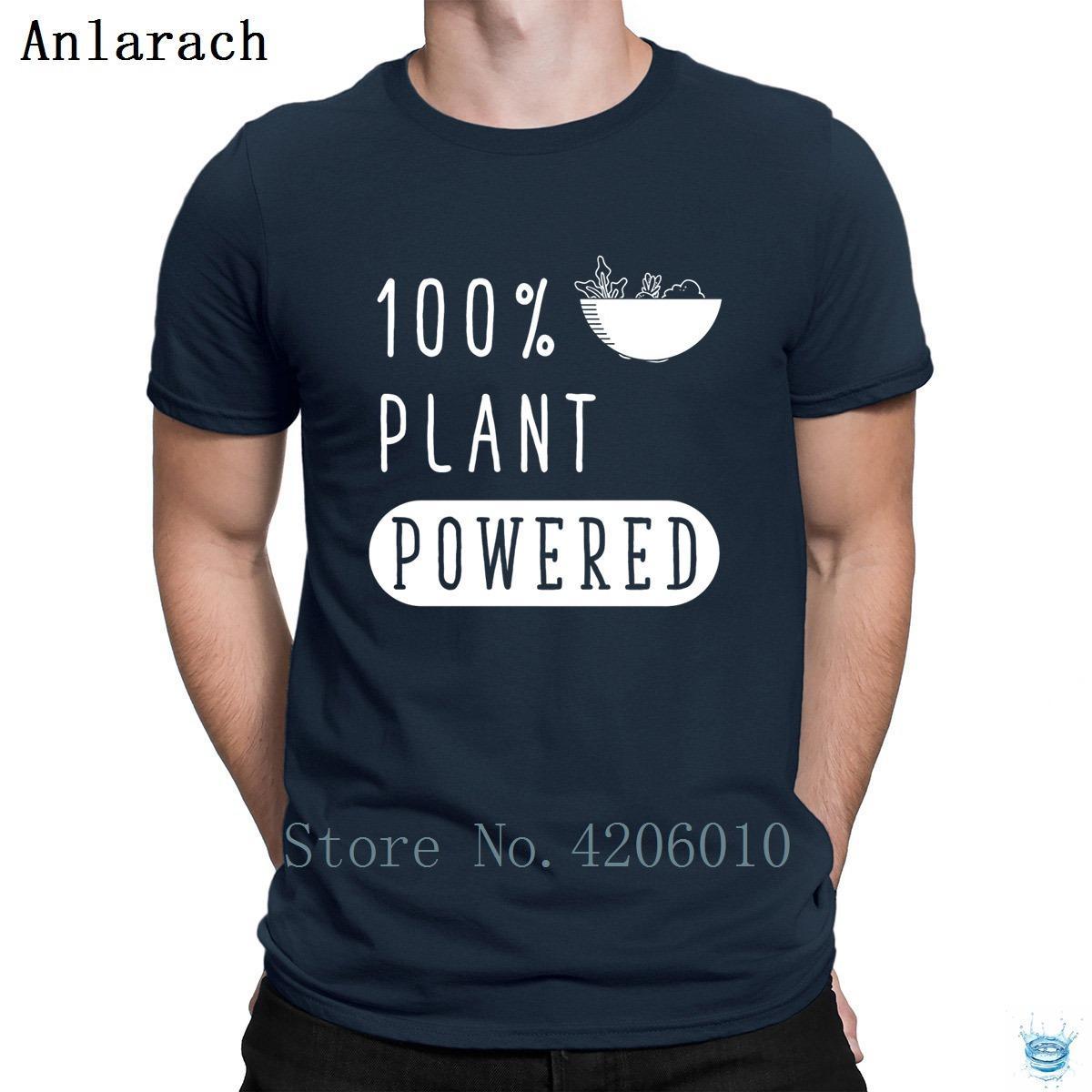 Planta Powered divertido vegano camiseta verde impresa de calidad superior impresionante camiseta para la tripulación normal de los hombres de cuello Anlarach tapa del verano