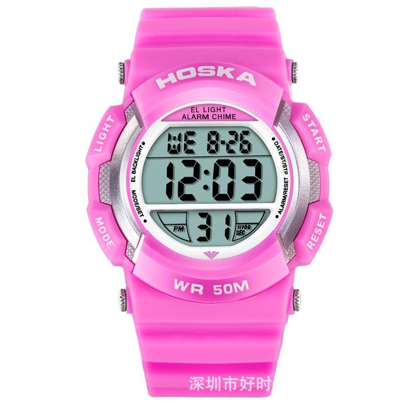 Hershey ka (Hoska) H007B / S étudiant montres montres électroniques hommes et filles exterieurs montres lumineuses étanches