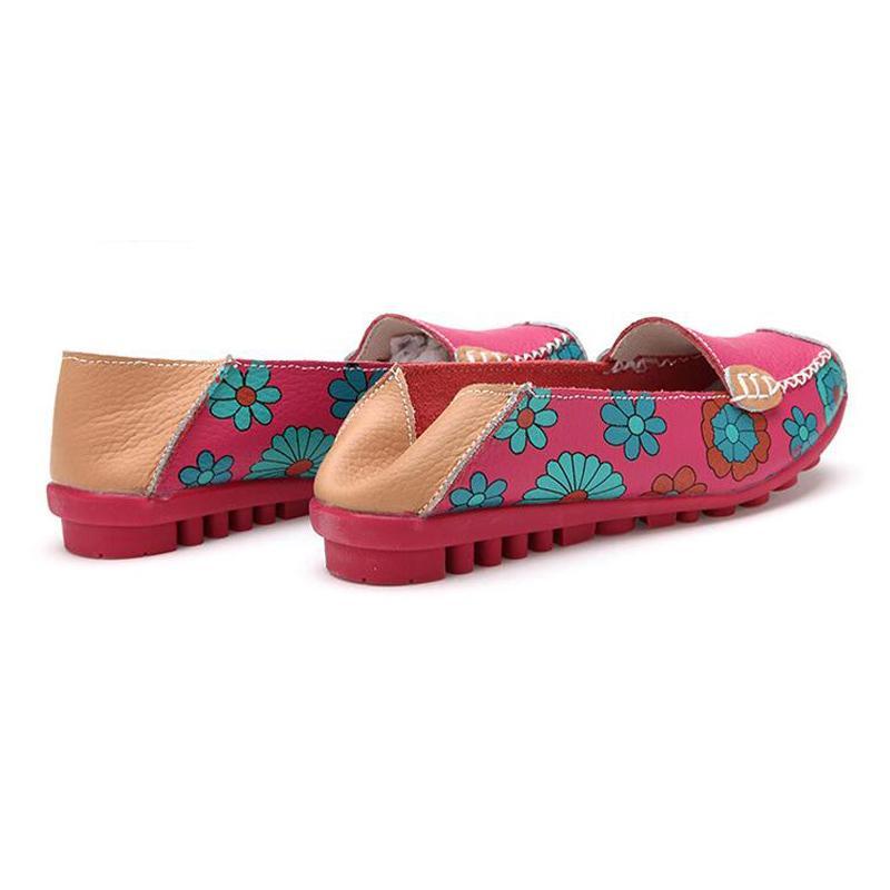 DAOKFPO 2018 Mulheres de couro genuíno sapatos mocassins Mãe Printing Loafers macias calçados casuais Flats Feminino de barco Calçado NVD-14
