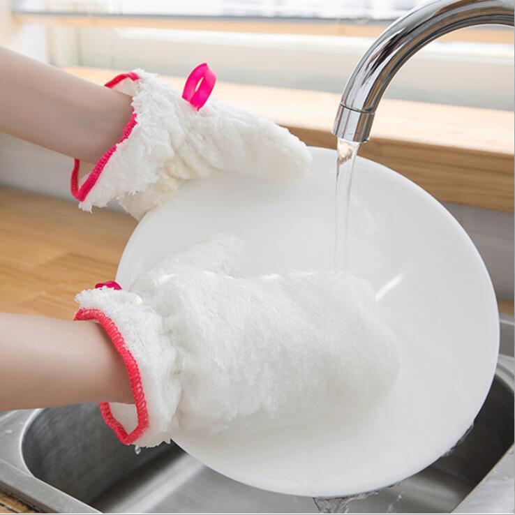 قفازات الغسيل للمنزل مطبخ ألياف الخيزران مقاوم للماء خرقة القفاز الأبيض مضاد للانزلاق صحن قفازات منزلية تنظيف أدوات شحن مجاني DHD204