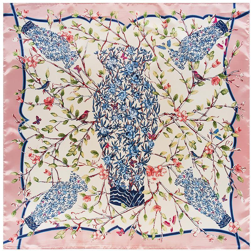 FASHION- nouvelle de haute qualité Foulard en soie 90cm * 90cm Branches Vase vert bateau rapide de Camellia Mme Silk