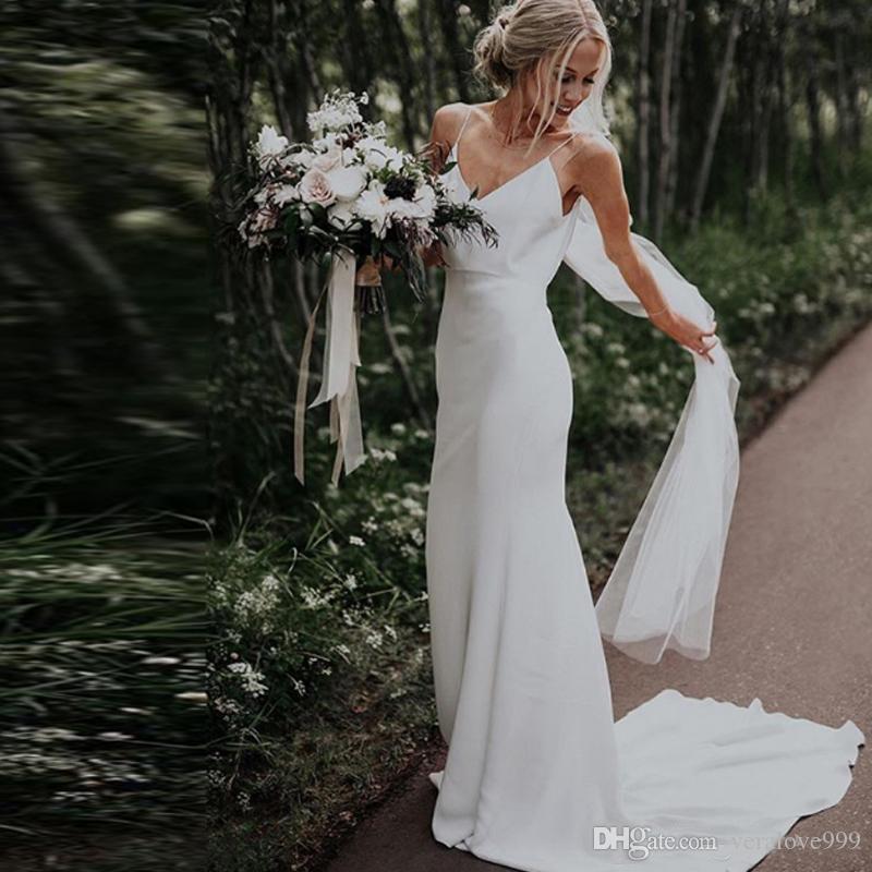 مثير السباغيتي حورية البحر فساتين الزفاف الحرير الطابق طول زائد الحجم بسيط بوهو الزفاف ثوب الزفاف