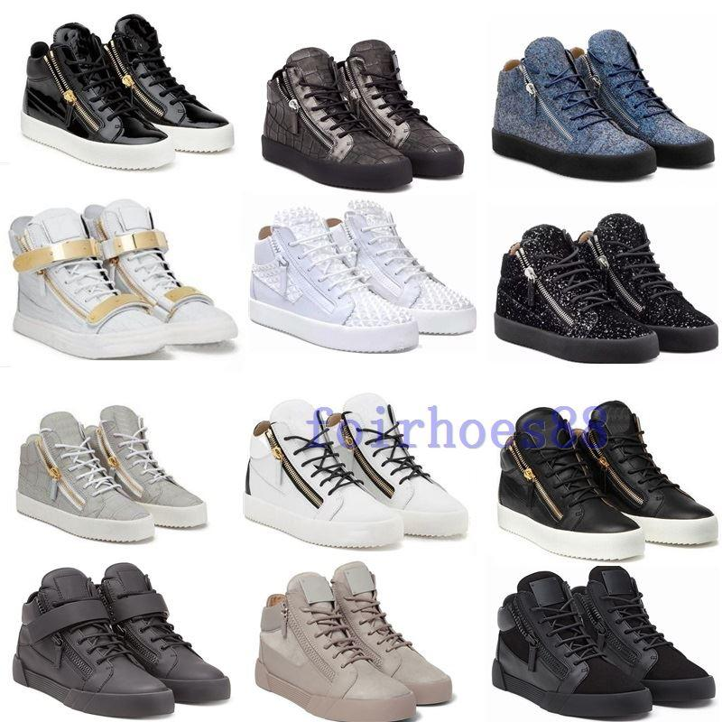caldo 2020 NUOVO zip Italia Designer pattini di cuoio genuini dei pattini casuali d'oro Zipper uomini e le donne di alta Top Sneakers Trainers formato 36-47