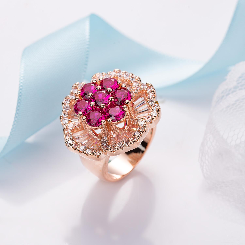 Manera- y la industria estadounidense de heavy micro-incrustaciones de circonio de dos colores cobre del anillo de la flor 18k pulsera anillo de oro de verdad