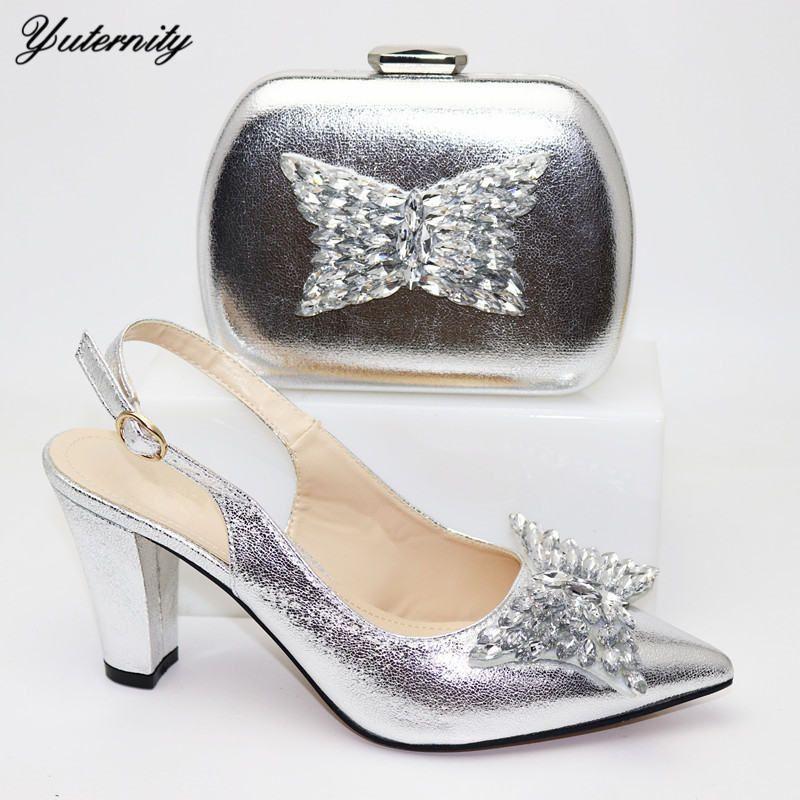 Scarpe Fashion PU con strass argento Colore Con i sacchetti di corrispondenza africano tacco alto Scarpe e Borse Set per la festa di nozze