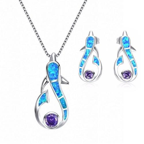 Wholesale 10 pcs Silver Plated Lovely Dolphin Shape Opalite Opal Pendant Link Chain Necklace Earrings Unique Jewelry Sets