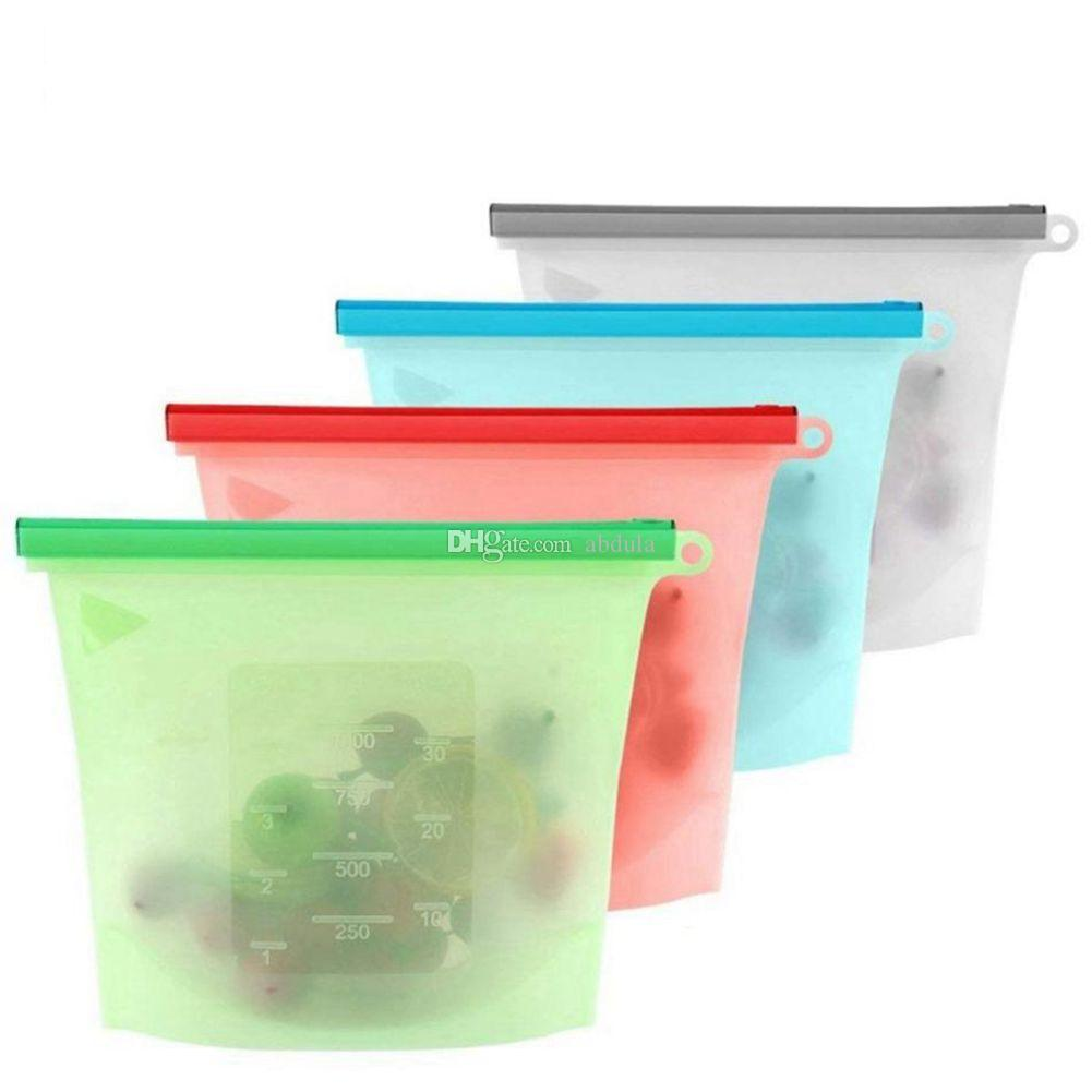 1000ml Reusable Grocery Silicone Food Bags Fresh Lunch Bag Sandwich Snack Liquid Freezer Bags Airtight Seal Vegetable Fruit Storage Bags