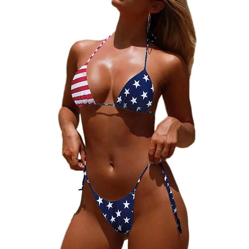 Swimsuit женщин сексуальный американский флаг печати High Cut Leg бикини Set двухкусочный Четвертого июля Купальники Summer Двухкусочный G-String