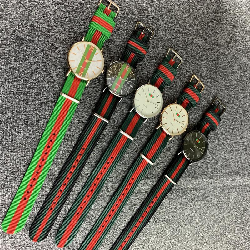 Nova moda de luxo tarja relógios relógio de cinta de nylon de quartzo casual homens mulheres fita preto complexo colorido relógio de pulso militar assista b82703