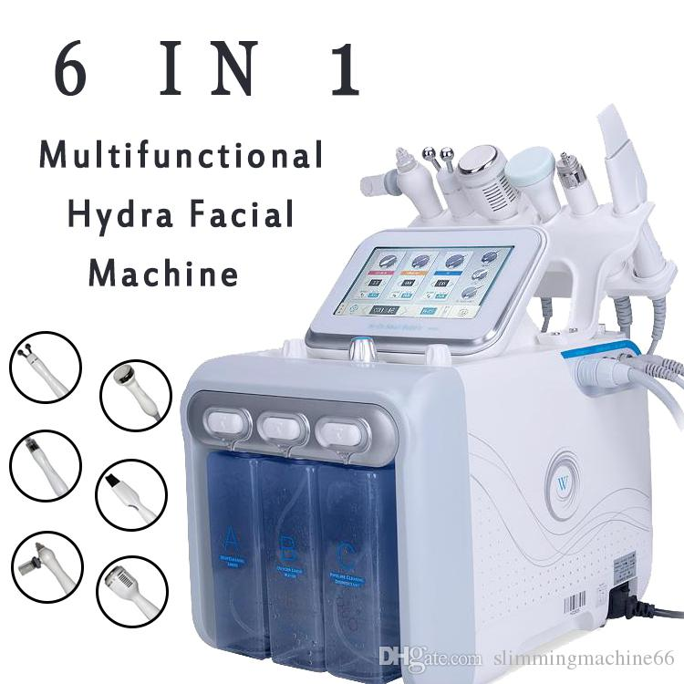 6in1 H2-O2 Hydra Dermabrasion Aqua Peel RF Bio-lift Spa الوجه Hydro Water Microdermabrasion آلة الوجه Cold Hammer Oxygen Spray