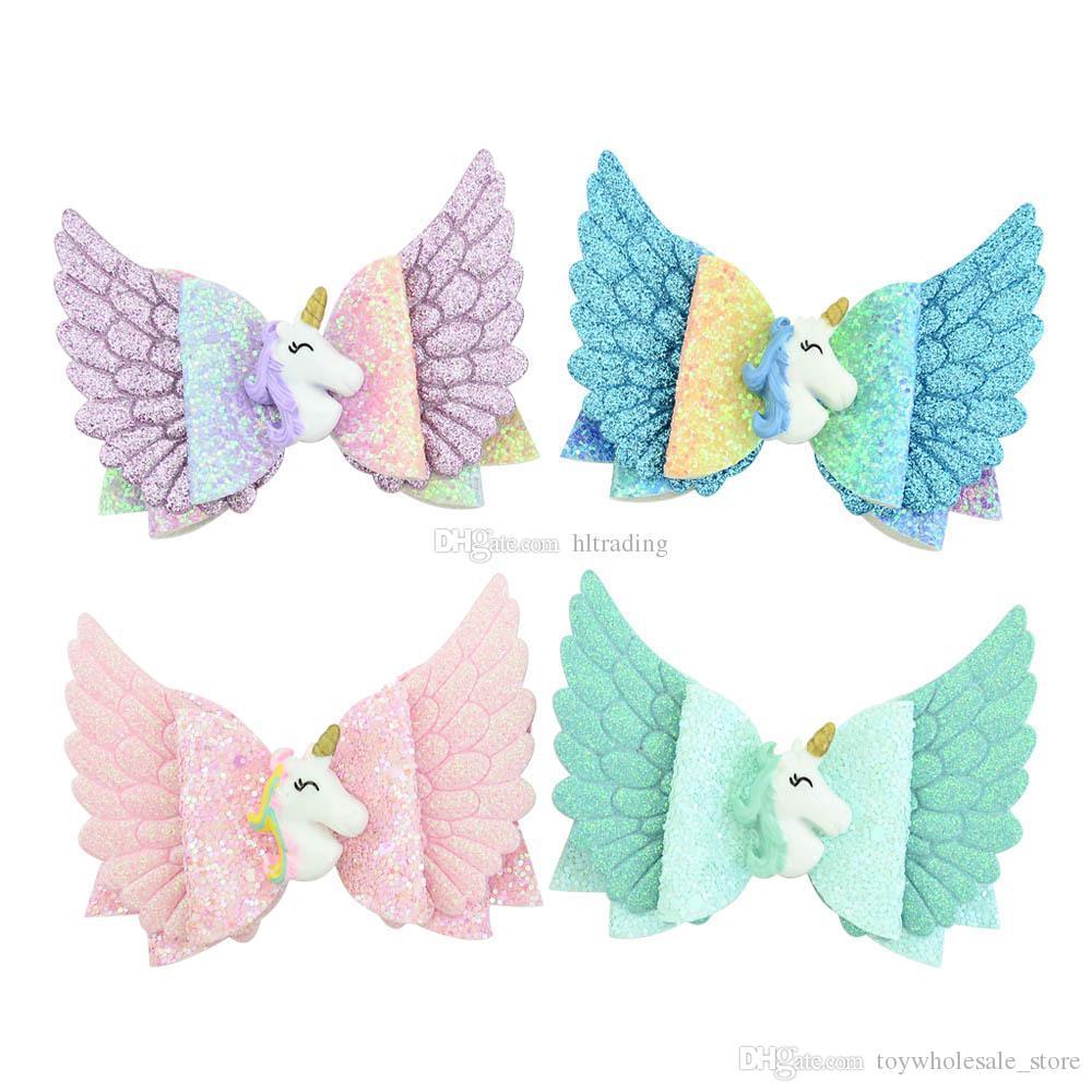 3.5 pulgadas alas del bebé del arco de las horquillas de la lentejuela del unicornio del ángel de pelo agarra muchachas de los niños de diseño pinzas de pelo de los niños del pelo accesorios Barrettes C6822