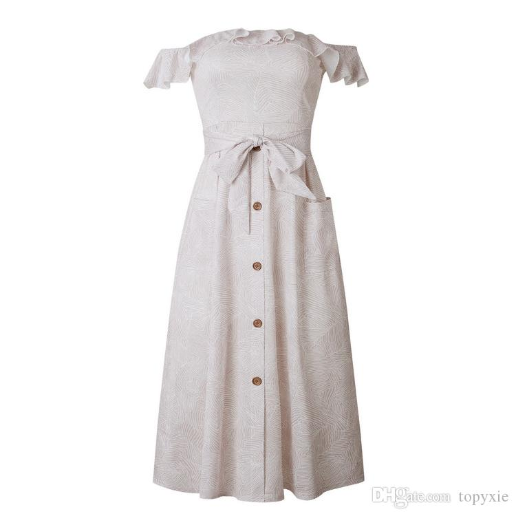 New fashion Women's dress Spring and Summer Sexy Women's Dresses with Shoulder, Lotus Leaf, Back and Pocket Butterfly-knotted Princess Skirt