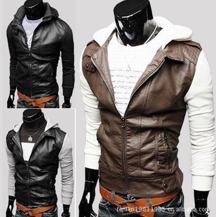Diseño de doble capa con capucha casual chaqueta de cuero corta de piel de Jack delgado PU de la cremallera de la chaqueta de los hombres ropa de la piel