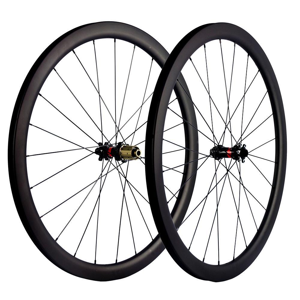 700C 클린처/관이 없는/관 디스크 브레이크 탄소 바퀴 세트 40mm 깊이 25mm 폭 탄소 바퀴 도로 자전거 UD 광택이 없는 경주용 바퀴 Novatec 허브
