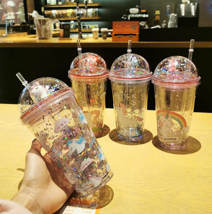 The latest 15.2OZ unicorn double stereo straw plastic cup creative fashion water cup, free shipping, support custom logo