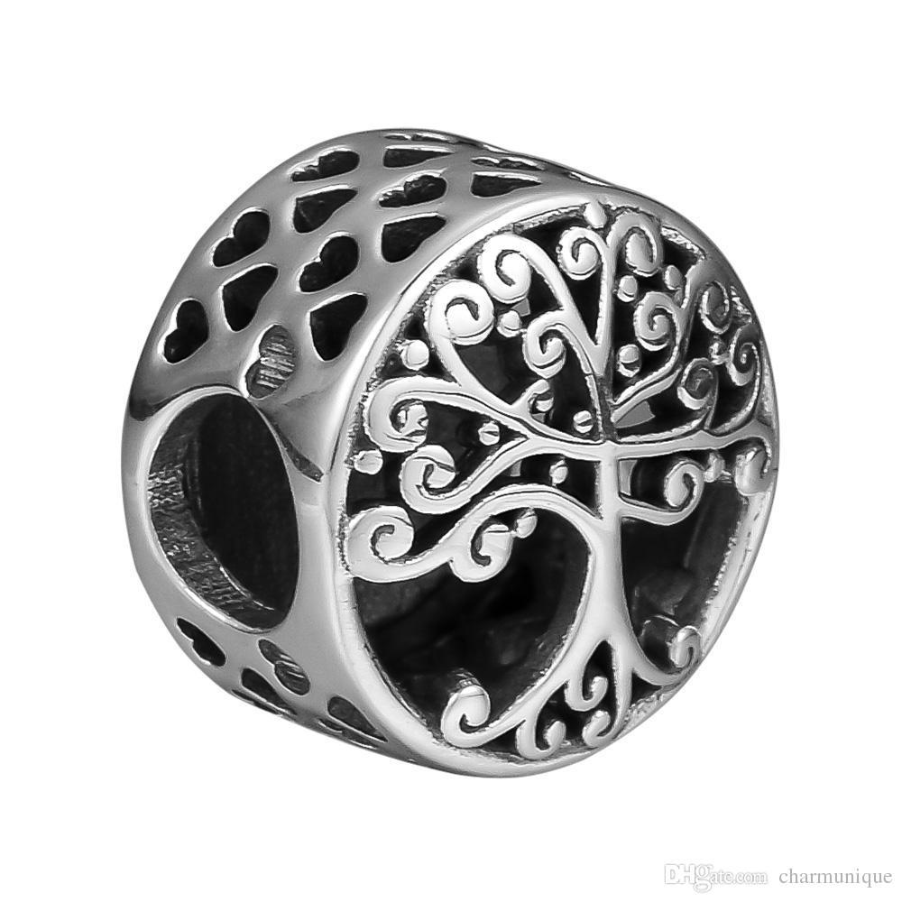 Se adapta a las pulseras Pandora 925 cuentas de plata esterlina para la joyería Family Roots Charm Bead Charms Making DIY envío gratis