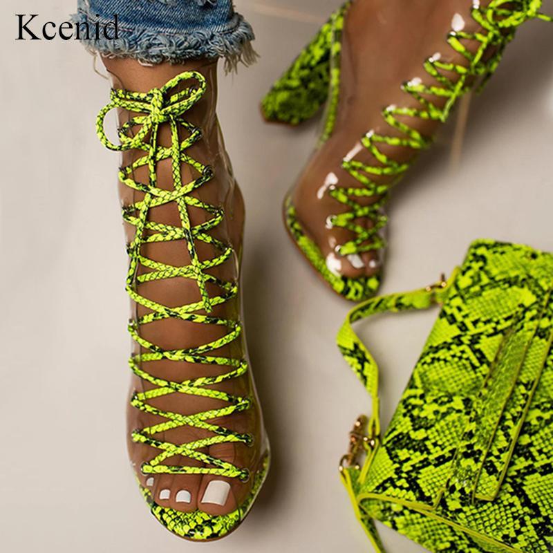 Kcenid verde serpentina ankle boots sandálias transparentes de PVC para as mulheres peep toe de salto alto sapatos de verão gladiador pedaços de rendas-up