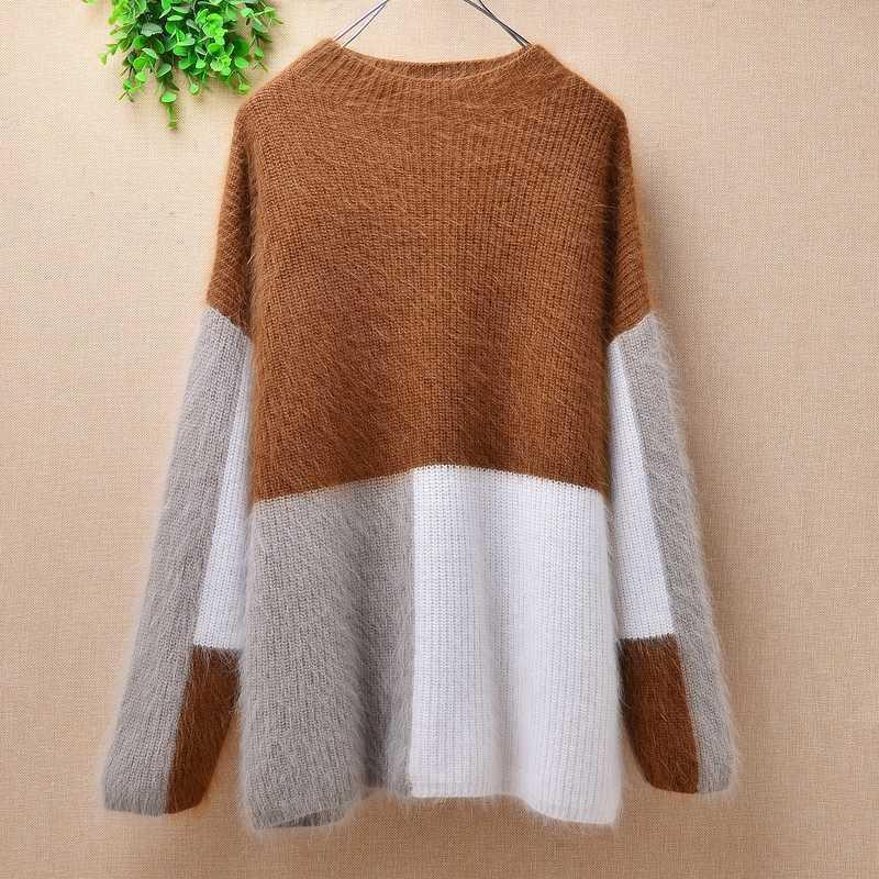 Mujeres señoras invierno pacthwork felpa real visón Cachemira manga larga suéter piel de angora bottoming blusas suéter