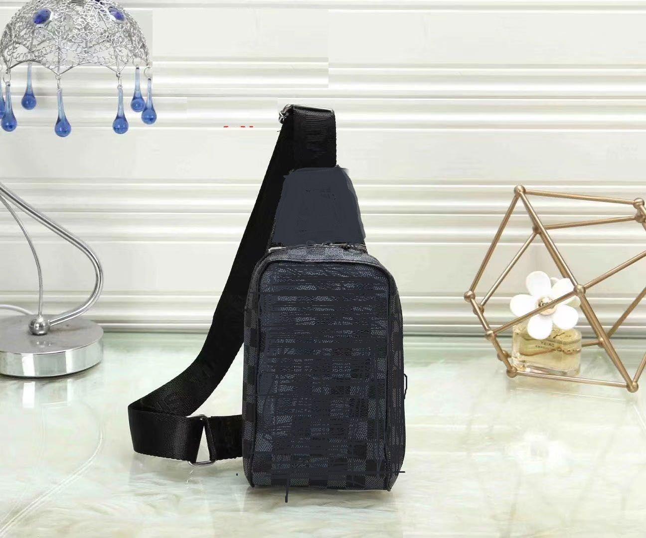 Negro a cuadros bolsas bolso de la honda del pecho MENS bolsa de viaje flor Bumbag bolsa de hombro bolsa de cuero genuino del pecho de mama cuerpo cruz