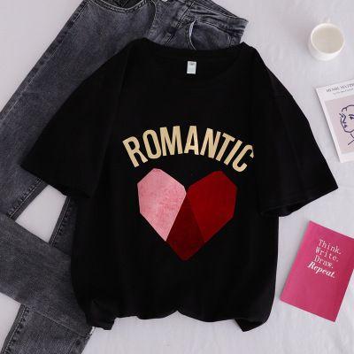 Womens maniche corte maglietta per l'estate con il cuore di modo stampato casuale delle donne Miscela magliette Cotone Dimensione signore Tees 3 colori S-XL