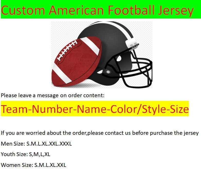 Custom American Football Jerseys All 32 Teams Customized Stitched Sewn On Any Name Any Number S-3XL Mix Order Men Womens Kids Youth Jerseys