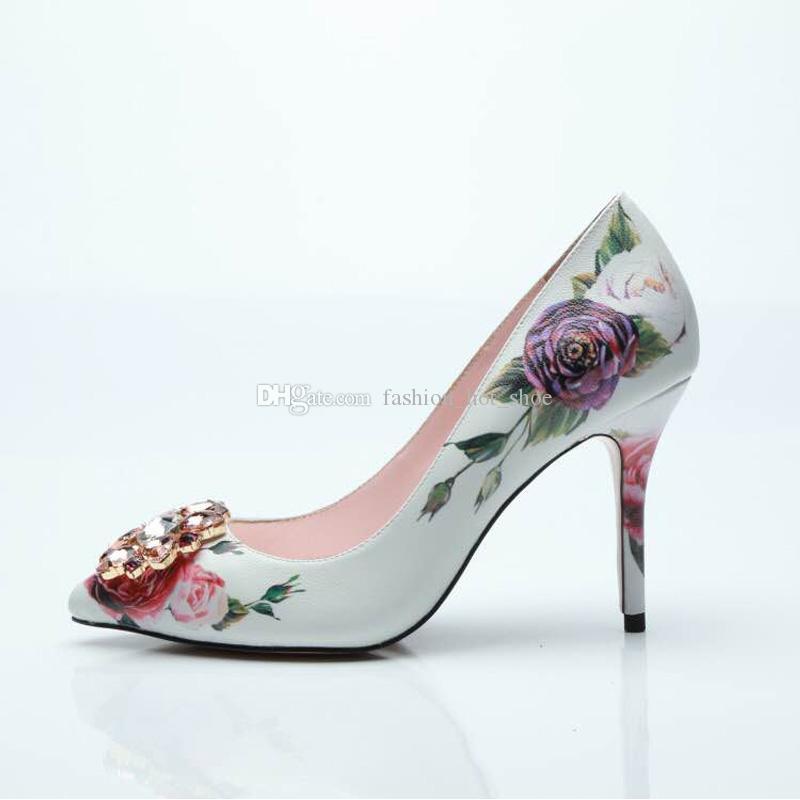 Impressão surpreendente única flor Shoes Feminino Primavera saltos altos sapatos de casamento vestido nupcial Bombas