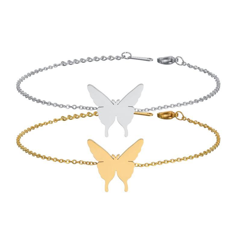 Animal Butterfly Bracelet Bangles Fashion Gold Color Stainless Steel Charm Bracelets for Women Jewelry Braclets 2019