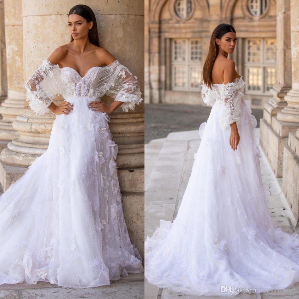 2020 elegante Milla Vestidos de novia Vestidos de novia Encaje 3D Appliques Florales Sweetheart Manga Larga Vestido de novia Vestidos nupciales Una línea Robes de Mariée