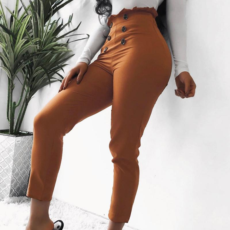 Summer New Women Black High Waist Button Raise Hip Casual Leggings Women Lady elastic Skinny Pants