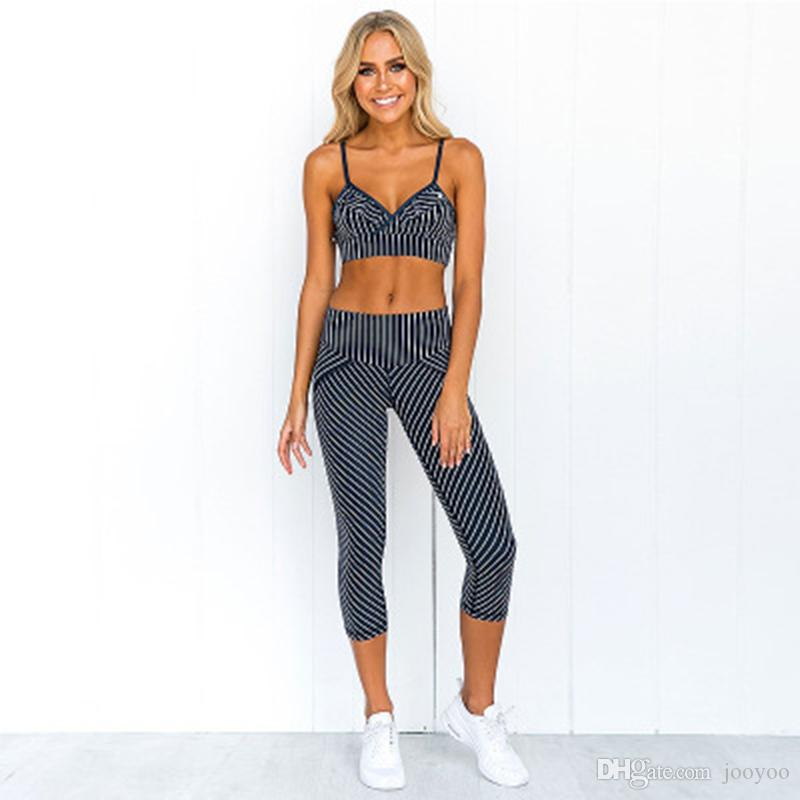 Striped Printed Women Sport Suit Sexy Yoga Set Padded Sports Bra High Waist Yoga Leggings Fitness Gym Clothing Running Wear