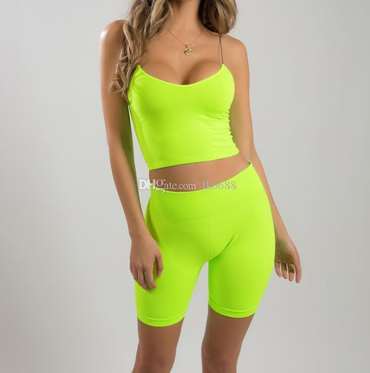 Fluorescent Yellow Training Yoga Shorts Gym Ladies Workout Sportswear Tights Lifting Hips Two-piece Suit Female Training Shorts