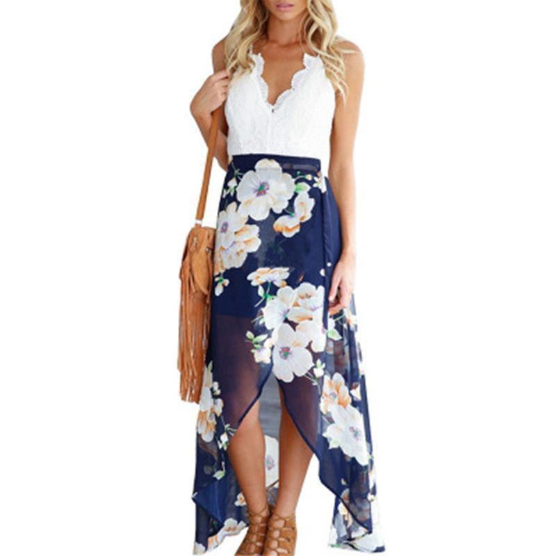 Новая мода лета женщин типа кружева с длинным Цветочный печати Лоскутное платья Sexy V Нак Женщины Кружевное платье Смешной
