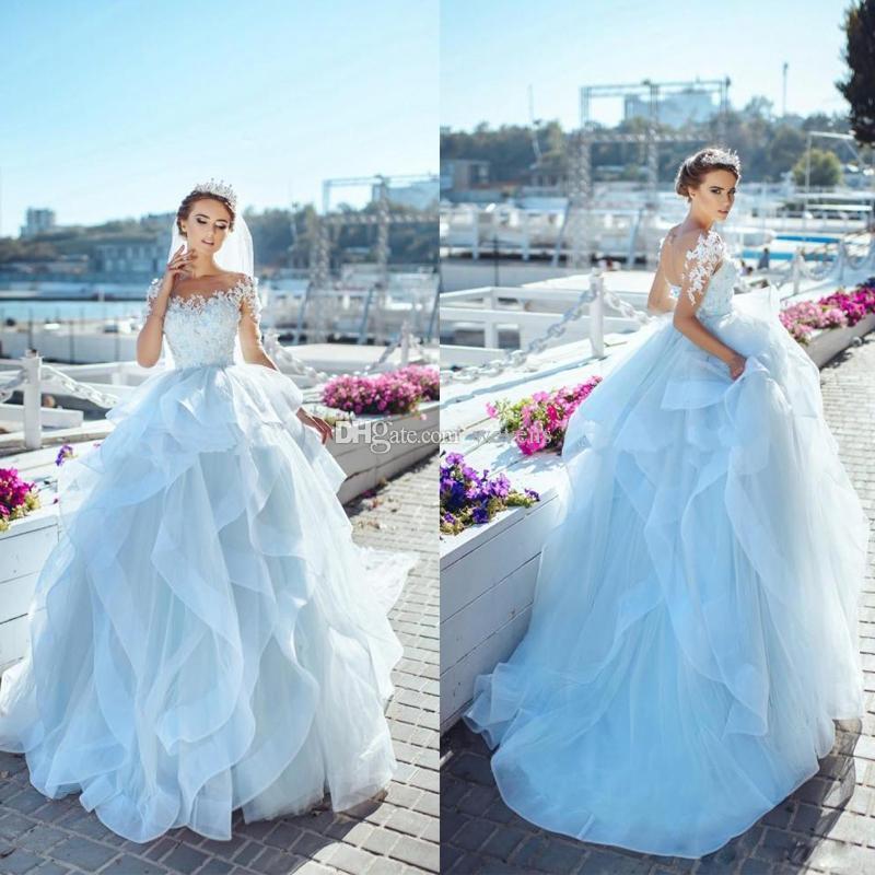 Ice Blue Cascading Ruffles Ball Gown Wedding Dresses Scoop Neck