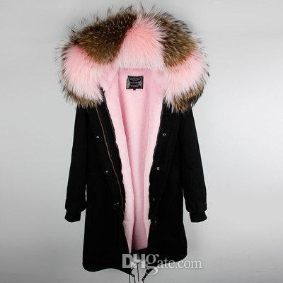 Marca maomaokong Marrom rosa pele de guaxinim guarnição com capuz rosa coelho forro de pele preto X-Long parkas venda quente casacos de pele de coelho Ao longo do joelho