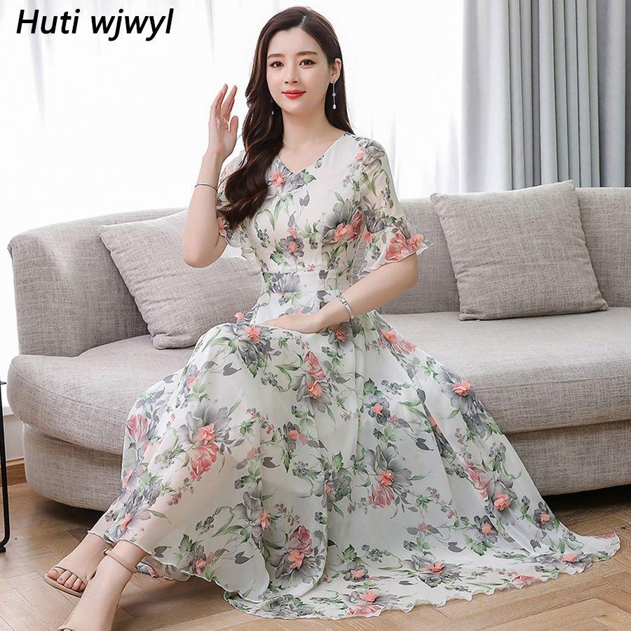 Elegante Frauen Party Vestidos Sommer 3XL Plus Größe Drucken Boho Maxi Sommerkleid 2019 Vintage Floral Chiffon Bodycon Strand Midi Kleid T200604