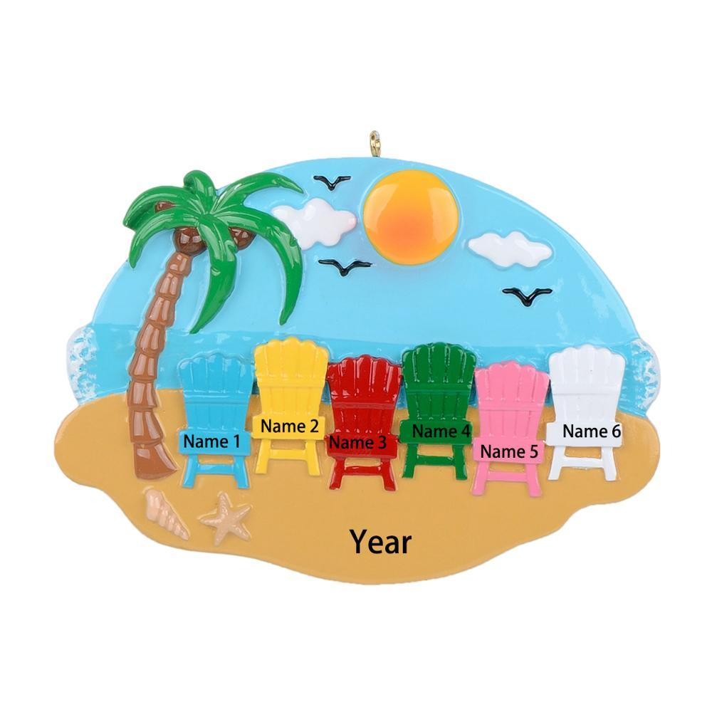 Sand Chair Beach Family of 6 Personalized Christmas Ornament-Decor for Holiday Party - Custom Decorations for Family Kids Baby