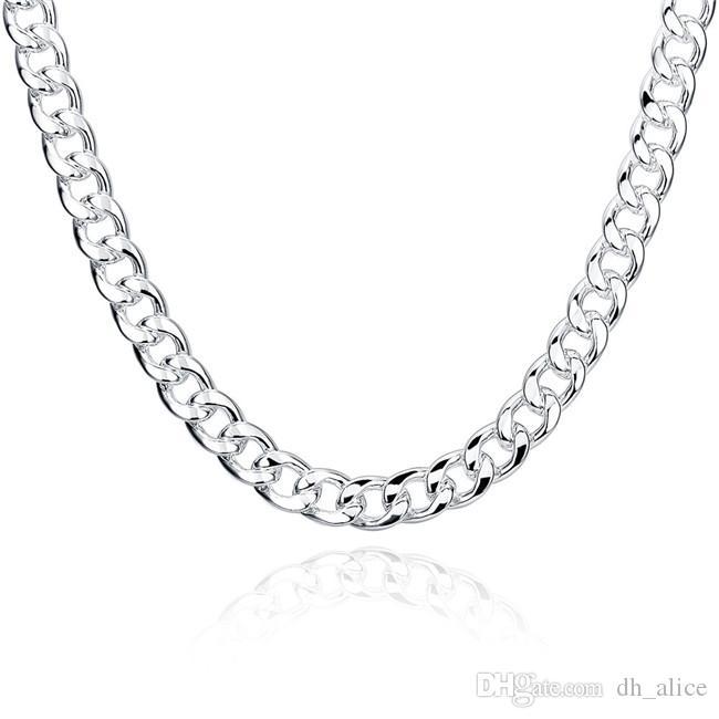 Collar de plata esterlina plateada 20 24 pulgadas Men's 10m Cuadros laterales cuadrados Collar DHSN011 A estrenar 925 Cadenas de placa de plata Joyería