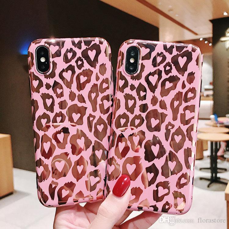 Für Apple iPhone Hüllen 7 8plus XR x Max 11 12 Pro-stoßfestes Leopard-Druckmuster Telefonabdeckungen Galvanisierter Spiegel Vollschutz Fall