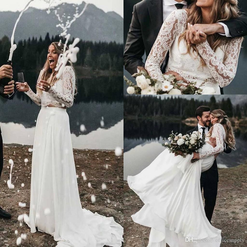 Casamento Sexy White Two Pieces Vestidos New Lace Jewel Backless casamento mangas compridas vestidos de noiva Layers Illusion Vestidos Vestidos De Novia