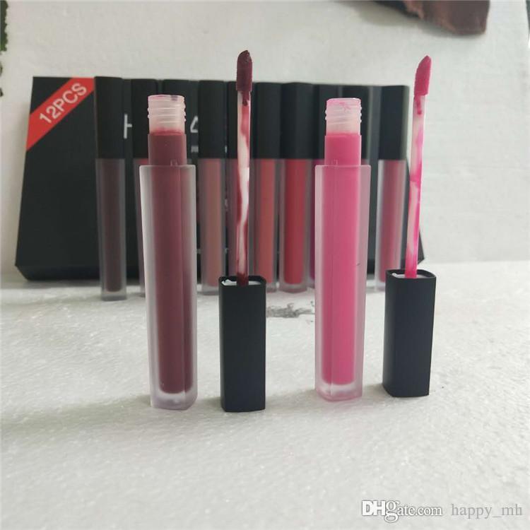 Hot 12Colors /set Matt Lip Gloss Beauty Liquid lipstick Make up Waterproof Long Lasting Lipgloss Trophy Wife Icon Vixen 1set