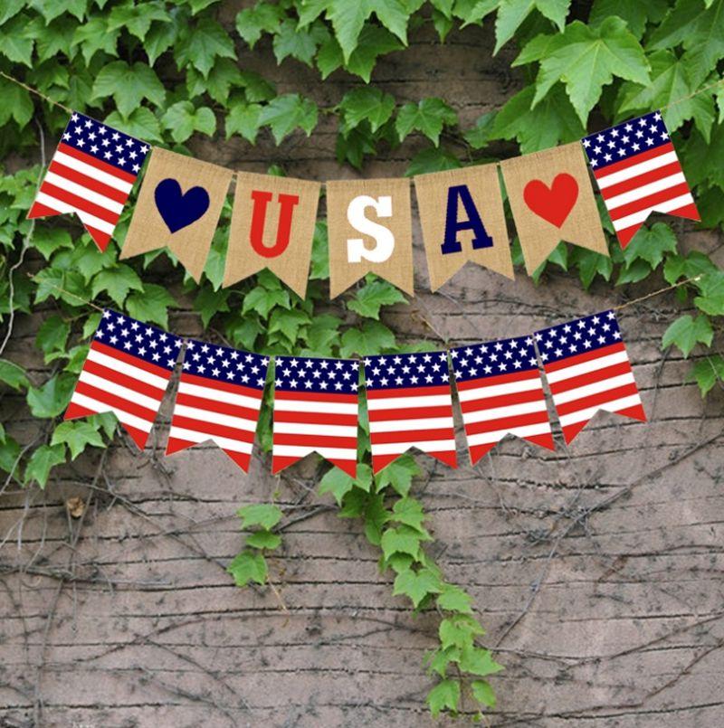USA Swallowtail Banner Independence Day String Flaggen USA Buchstaben Bunting Banner 4. Juli Party Dekoration Freies Verschiffen DSL-yw3133