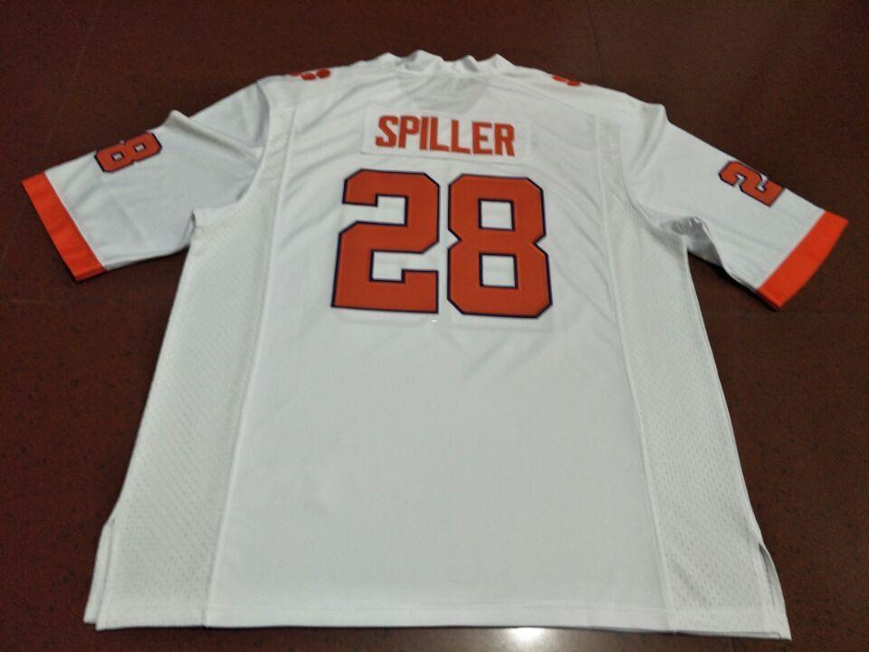 w/2019 CFP Patch Men Clemson Tigers # 28 CJ Spiller Orange White College Jersey or custom any name or number jersey