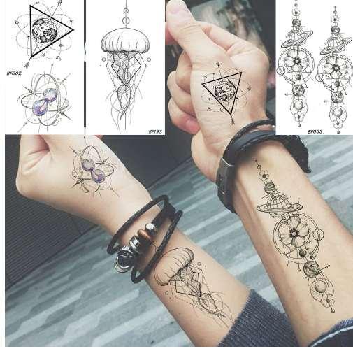 Tatuagens E Seus Significados Baofuli à Prova D água Etiqueta Temporária Geométrica Planeta Medusa Tatuagem Preta Triângulo Tatuagens Braço Do Corpo