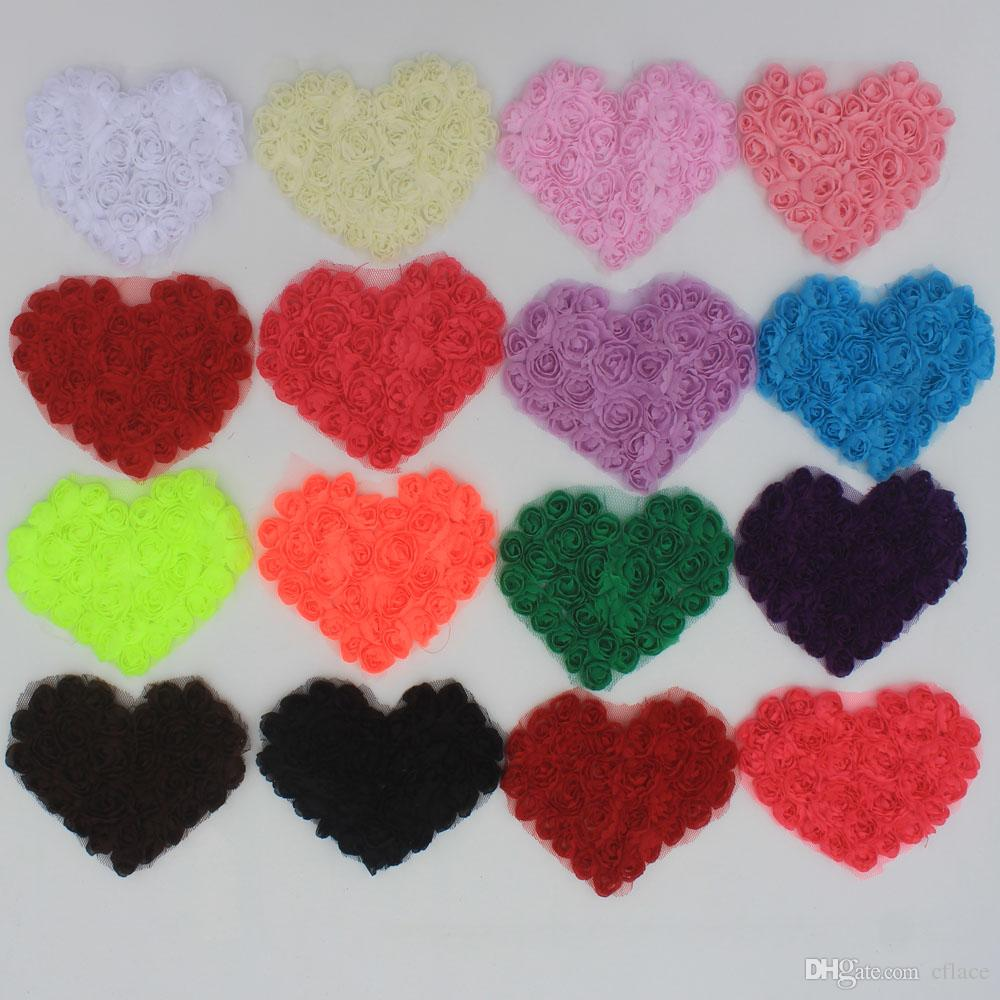 30y/240pcs 11cm Chiffon Rosette Shabby Heart,Shabby Chic Chiffon Heart Appliques,Hair Accessories