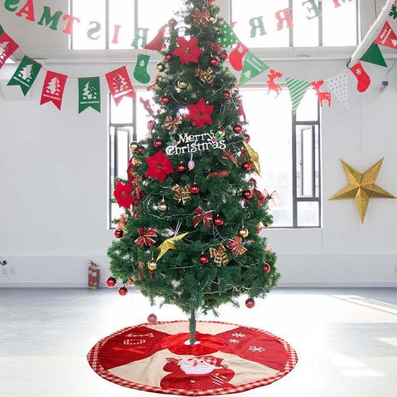Panno Rosso albero di Natale gonne in pizzo Tappeto Coperta copertura pavimento del partito della casa di Capodanno accessori decorativi