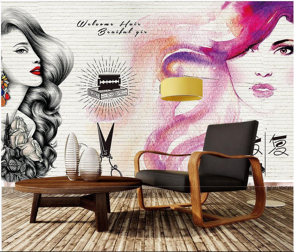3D Wallpaper benutzerdefinierte Foto Europäische Moderne Hand gezeichnet Beauty Friseur Mauer Hintergrund Hauptdekortapete für Wände 3d Wohnzimmer